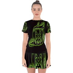 Pumpkin Black Halloween Neon Green Face Mask Smile Drop Hem Mini Chiffon Dress by Alisyart