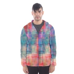 Rainbow Prism Plaid  Hooded Wind Breaker (men) by KirstenStar