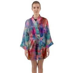 Rainbow Prism Plaid  Long Sleeve Kimono Robe