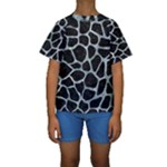 SKIN1 BLACK MARBLE & ICE CRYSTALS Kids  Short Sleeve Swimwear