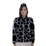 SKIN1 BLACK MARBLE & ICE CRYSTALS Hooded Wind Breaker (Women)