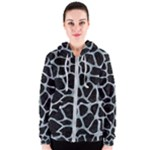SKIN1 BLACK MARBLE & ICE CRYSTALS Women s Zipper Hoodie