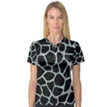 SKIN1 BLACK MARBLE & ICE CRYSTALS V-Neck Sport Mesh Tee