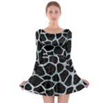 SKIN1 BLACK MARBLE & ICE CRYSTALS Long Sleeve Skater Dress