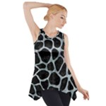 SKIN1 BLACK MARBLE & ICE CRYSTALS Side Drop Tank Tunic