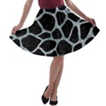 SKIN1 BLACK MARBLE & ICE CRYSTALS A-line Skater Skirt