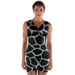 SKIN1 BLACK MARBLE & ICE CRYSTALS Wrap Front Bodycon Dress