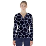 SKIN1 BLACK MARBLE & ICE CRYSTALS V-Neck Long Sleeve Top