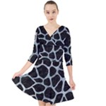 SKIN1 BLACK MARBLE & ICE CRYSTALS Quarter Sleeve Front Wrap Dress