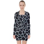 SKIN1 BLACK MARBLE & ICE CRYSTALS V-neck Bodycon Long Sleeve Dress