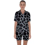 SKIN1 BLACK MARBLE & ICE CRYSTALS Satin Short Sleeve Pyjamas Set