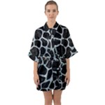 SKIN1 BLACK MARBLE & ICE CRYSTALS Quarter Sleeve Kimono Robe
