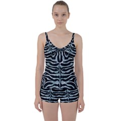 Skin2 Black Marble & Ice Crystals (r) Tie Front Two Piece Tankini by trendistuff