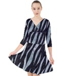 SKIN3 BLACK MARBLE & ICE CRYSTALS (R) Quarter Sleeve Front Wrap Dress