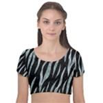 SKIN3 BLACK MARBLE & ICE CRYSTALS (R) Velvet Short Sleeve Crop Top