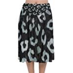 SKIN5 BLACK MARBLE & ICE CRYSTALS Velvet Flared Midi Skirt