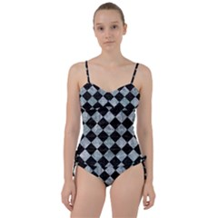 Square2 Black Marble & Ice Crystals Sweetheart Tankini Set by trendistuff