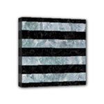 STRIPES2 BLACK MARBLE & ICE CRYSTALS Mini Canvas 4  x 4