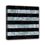 STRIPES2 BLACK MARBLE & ICE CRYSTALS Mini Canvas 6  x 6