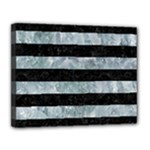 STRIPES2 BLACK MARBLE & ICE CRYSTALS Canvas 14  x 11