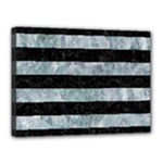 STRIPES2 BLACK MARBLE & ICE CRYSTALS Canvas 16  x 12