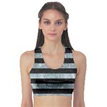 STRIPES2 BLACK MARBLE & ICE CRYSTALS Sports Bra