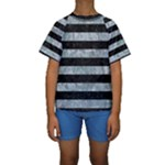 STRIPES2 BLACK MARBLE & ICE CRYSTALS Kids  Short Sleeve Swimwear