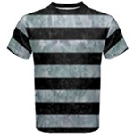STRIPES2 BLACK MARBLE & ICE CRYSTALS Men s Cotton Tee