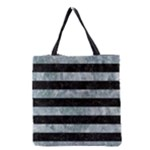 STRIPES2 BLACK MARBLE & ICE CRYSTALS Grocery Tote Bag