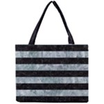 STRIPES2 BLACK MARBLE & ICE CRYSTALS Mini Tote Bag