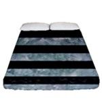 STRIPES2 BLACK MARBLE & ICE CRYSTALS Fitted Sheet (Queen Size)