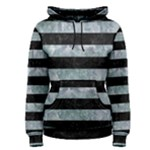 STRIPES2 BLACK MARBLE & ICE CRYSTALS Women s Pullover Hoodie