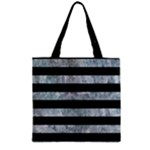 STRIPES2 BLACK MARBLE & ICE CRYSTALS Zipper Grocery Tote Bag