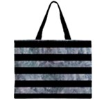 STRIPES2 BLACK MARBLE & ICE CRYSTALS Zipper Mini Tote Bag