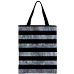 STRIPES2 BLACK MARBLE & ICE CRYSTALS Zipper Classic Tote Bag
