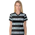 STRIPES2 BLACK MARBLE & ICE CRYSTALS V-Neck Sport Mesh Tee