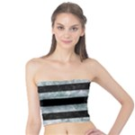 STRIPES2 BLACK MARBLE & ICE CRYSTALS Tube Top