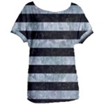 STRIPES2 BLACK MARBLE & ICE CRYSTALS Women s Oversized Tee