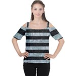 STRIPES2 BLACK MARBLE & ICE CRYSTALS Cutout Shoulder Tee