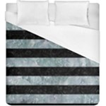 STRIPES2 BLACK MARBLE & ICE CRYSTALS Duvet Cover (King Size)