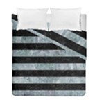 STRIPES2 BLACK MARBLE & ICE CRYSTALS Duvet Cover Double Side (Full/ Double Size)