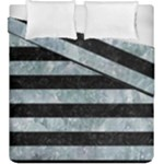 STRIPES2 BLACK MARBLE & ICE CRYSTALS Duvet Cover Double Side (King Size)