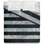 STRIPES2 BLACK MARBLE & ICE CRYSTALS Duvet Cover Double Side (California King Size)