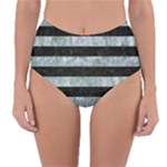 STRIPES2 BLACK MARBLE & ICE CRYSTALS Reversible High-Waist Bikini Bottoms