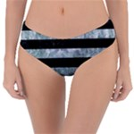 STRIPES2 BLACK MARBLE & ICE CRYSTALS Reversible Classic Bikini Bottoms