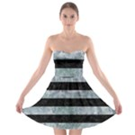 STRIPES2 BLACK MARBLE & ICE CRYSTALS Strapless Bra Top Dress