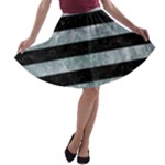 STRIPES2 BLACK MARBLE & ICE CRYSTALS A-line Skater Skirt