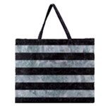STRIPES2 BLACK MARBLE & ICE CRYSTALS Zipper Large Tote Bag