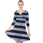 STRIPES2 BLACK MARBLE & ICE CRYSTALS Quarter Sleeve Front Wrap Dress