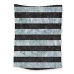 STRIPES2 BLACK MARBLE & ICE CRYSTALS Medium Tapestry